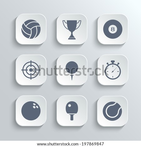 Sport icons set - vector white app buttons with volleyball trophy cup billiard  golf stopwatch bowling ping pong tennis