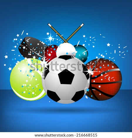 Sport illustration with soccer ball, tennis ball, basket ball, snooker balls and hockey puck on a blue background/vector illustration