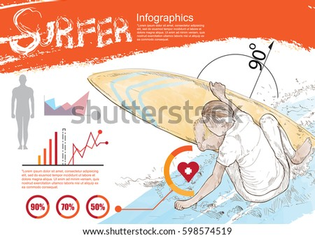 sport infographic. spurfer drawing vector