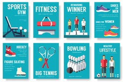 Sport information cards set. Lifestyle template of flyear, magazines, posters, book cover, banners. Physical athletic infographic concept  background. Layout illustrations modern pages with typography