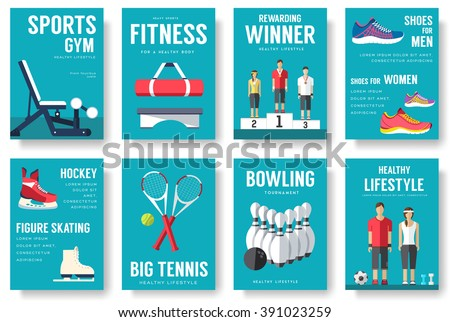 sport information cards set