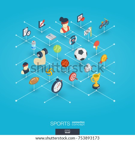 Sport integrated 3d web icons. Digital network isometric interact concept. Connected graphic design dot and line system. Abstract background for healthy, lifestyle, fitness and gym . Vector Infograph