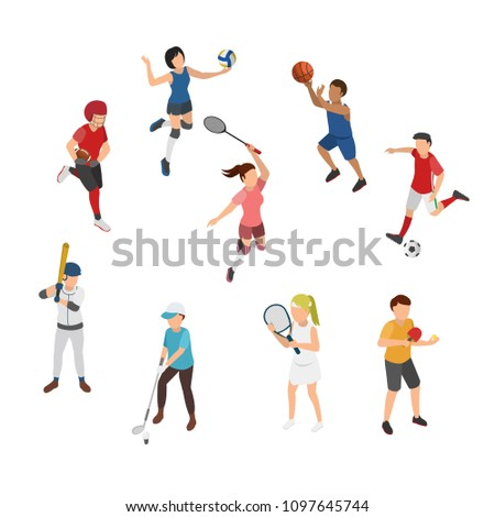 Sport Isometric, Outfield Sport, Indoor Sport, Ball Game Sport, Flat 3D Vector Illustration