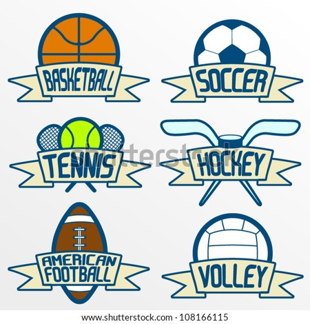 Sport item banners, Part 1. Basketball, soccer, tennis, ice hockey, american football, volleyball