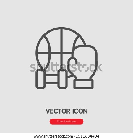 Sport items icon vector. Sport items  symbol. Linear style sign for mobile concept and web design. Sport items symbol illustration. Pixel vector graphics - Vector.