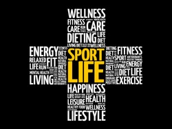Sport Life word cloud collage, health cross concept