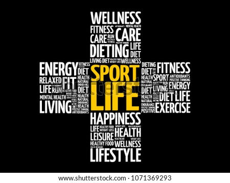Sport Life word cloud collage, health cross concept - Shutterstock ID 1071369293