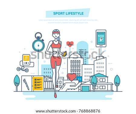 Sport lifestyle concept. Fitness classes, a healthy lifestyle, active sport and yoga, strengthening the body physically and spiritually. Illustration thin line design of vector doodles.