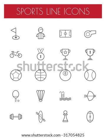 sport line icons set.