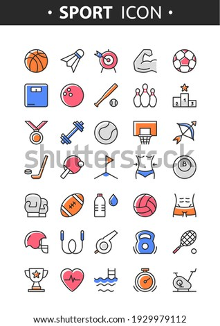 Sport line icons. Vector set of colorful sport tools and equipment, balls, healthy lifestyle. Fitness and gym symbols for web, print, digital and apps. Sport activities. Flat linear pictogram concept