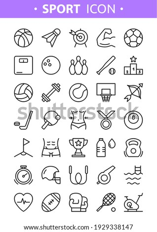 Sport line icons. Vector set of sport tools and equipment, balls, active healthy lifestyle. Fitness and Gym symbols for web, print, digital and apps. Sport activities. Flat linear pictogram concept