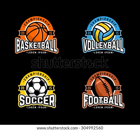 Sport logo set. Basketball, Volleyball, Soccer, Football.