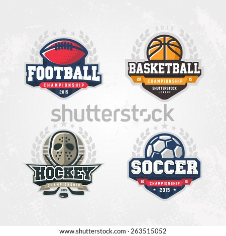 Sport logo set for four sport disciplines