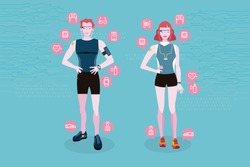 Sport man and sport woman wearing wearable smart devices technology. Line icons of wearable technology. Internet of things.