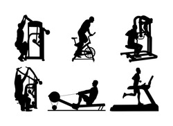 Sport man exercises on gym fitness machine vector silhouette. Chest legs pressure. Pull down, stretching, worming up. Cardio bike. Cable Row. Jump rope skipping. Treadmill run training. Running boy