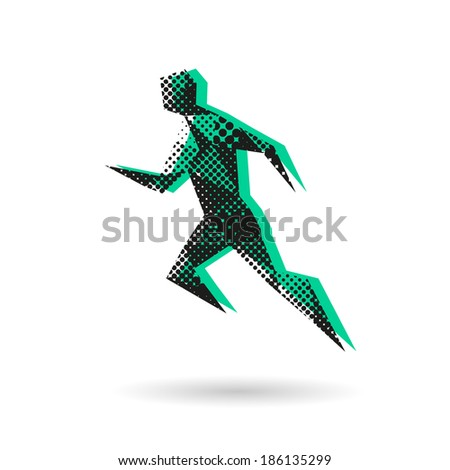 Sport man running abstract isolated on a white background, vector illustration stock photo