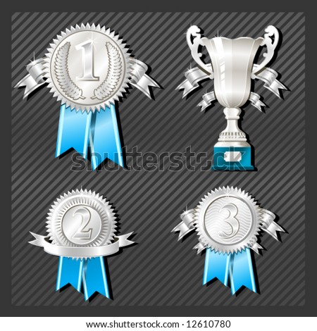 Sport Medals of the first, second and third place with cup