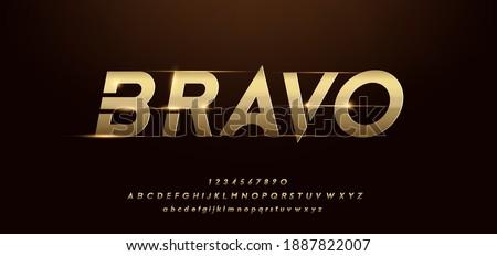 sport modern alphabet gold font