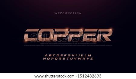 Sport Modern Italic Alphabet copper Font. Typography 3D stainless hairline copper fonts for technology, digital, movie, sport logo design. vector illustration