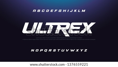 Sport Modern Italic Alphabet Font. Typography urban style fonts for technology, digital, movie logo design. vector illustration #1376559221