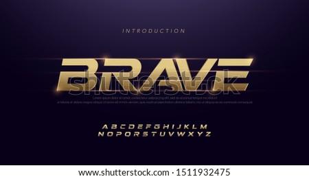 Sport Modern Italic Alphabet Gold Font. Typography 3D stainless hairline golden fonts for technology, digital, movie, sport logo design. vector illustration