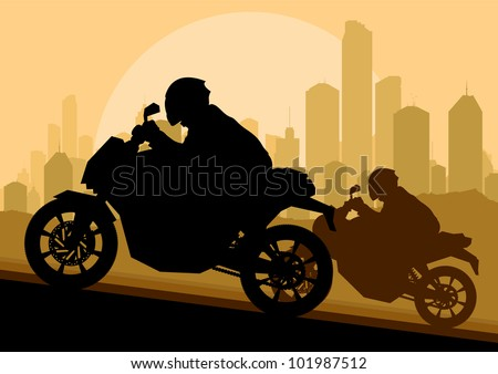 Sport motorbike riders motorcycle silhouettes in skyscraper city landscape background illustration vector