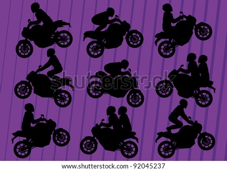 Sport motorbike riders silhouettes illustration collection background vector