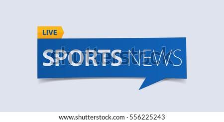 Sport news banner isolated on light blue background. Banner design template. Vector illustration.