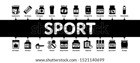 Sport Nutrition Cells Minimal Infographic Web Banner Vector. Sport Nutrition for Sportsmen Linear Pictograms. Dietary Nutrition, Protein Ingredients, Wheys, Bars for Bodybuilding Illustrations