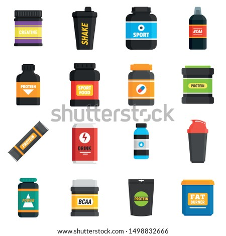 Sport nutrition icons set. Flat set of sport nutrition vector icons for web design