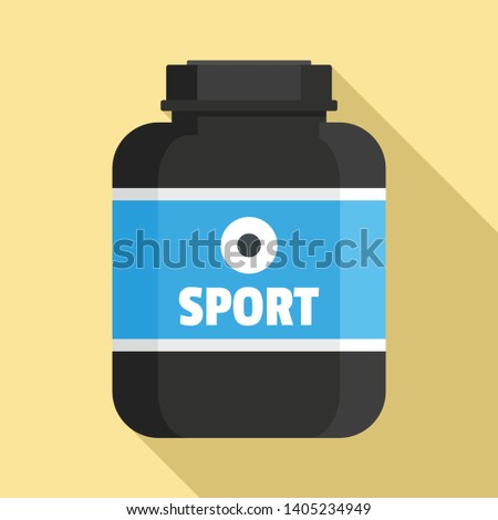 Sport nutrition plastic jar icon. Flat illustration of sport nutrition plastic jar vector icon for web design