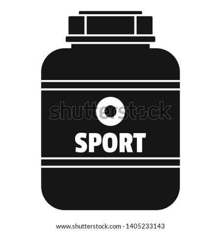 Sport nutrition plastic jar icon. Simple illustration of sport nutrition plastic jar vector icon for web design isolated on white background
