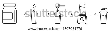 Sport nutrition supplement concept. Instructions how to make whey protein isolate shake with kitchen blender. Linear icon vector illustration for package suggested use. Making sports protein drink.
