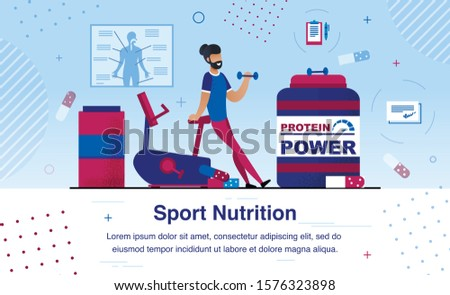 Sport Nutrition Supplements for Muscular Power and Physical Endurance Growth Trendy Flat Vector Ad Banner, Promo Poster Template. African-American Man Having Workout in Gym with Barbell Illustration