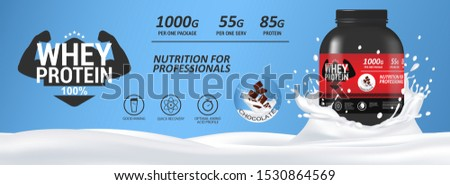 Sport nutrition, whey protein mockup banner with milk and a can of protein. Realistic 3d protein can with chocolate flavor. Сontainer packaging mockup. Sports food ad banner. Vector illustration