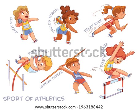 Sport of athletics. Set. Shot put, Discus throw, Relay race, Pole vault, Javelin throw, Steeplechase, Long jump, Marathon. Cartoon characters. Funny vector illustration. Isolated on white background