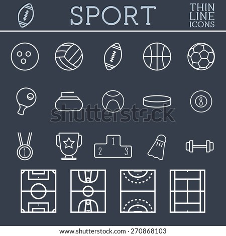 Sport outline icons, trendy thin line design, blue dark background. Soccer, volley-ball, basket-ball and other games. Can be used on web and mobile application, infographics, logo. Vector illustration