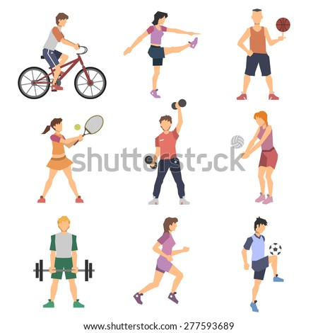sport people flat icons set