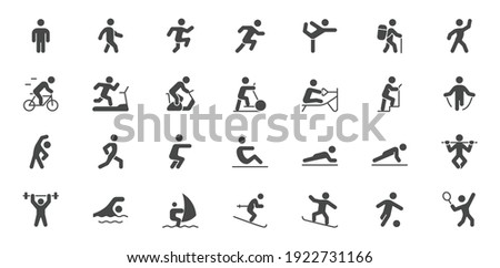 Sport people simple flat glyph icons. Vector illustration with minimal icon - exercise, yoga, active man, running, treadmill, fitness, aerobic, snowboard black silhouette.