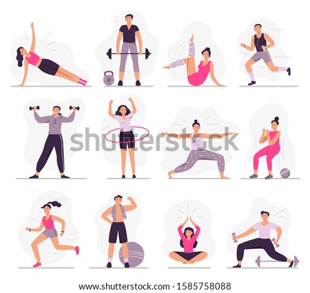 Sport people. Young athletic woman fitness activities, sports man and gym exercises. Characters gymnastics, outdoor active games and workout. Isolated vector illustration icons set