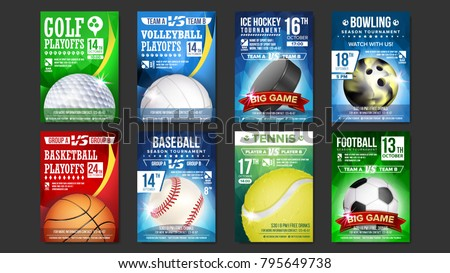 Sport Posters Set Vector. Golf, Baseball, Ice Hockey, Bowling, Basketball, Tennis, Soccer, Football. Banner Advertising. Event Announcement. Ball. A4 Size. Game Design. Championship Label Illustration