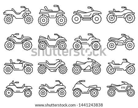 sport quad bike icons set