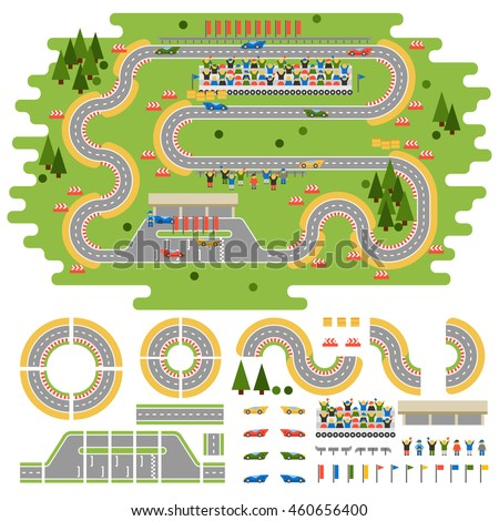 Sport race track curve road vector, car sport track. Transportation roadway design elements top view constructor for car competition or city driving