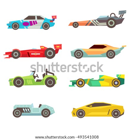 sport racing car flat vector