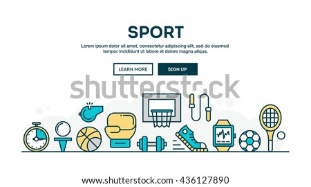 Sport, recreation, active lifestyle, colorful concept header, flat design thin line style, vector illustration