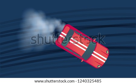 Sport red modern car drifting on race track. Motorsport competition. Top view vector illustration.
