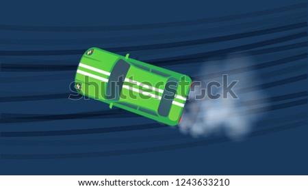 sport red modern car drifting