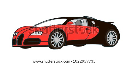 sport red with black car vector illustration. Race Sport Car. Supercar Tuning Coupé Auto .flat Style Vector Transportation Vehicle Illustration