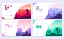 Sport rest day vector brochure cards set.  Tourism on nature template of flyear, web banner, ui header, enter site. Invitation concept background. Layout illustration modern slider