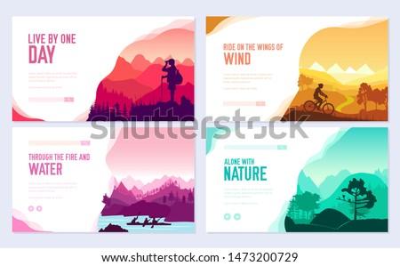 Sport rest day vector brochure cards set.  Tourism on nature template of flyer, web banner, ui header, enter site. Invitation concept background. Layout illustration modern slider